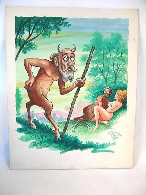 Illustrator Lloyd Rognan 17 x 13 Satyr Nude Watercolor Illustration Painting