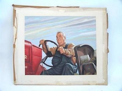 Listed Illustrator Lloyd Rognan Farmer Tractor Painting