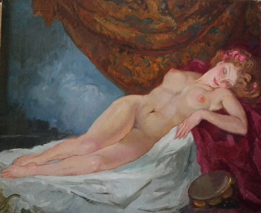 Vintage Stunning Nude Oil Painting of a Beautiful Nude Gypsy Girl Lying in Lush Surroundings