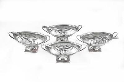4 Sheffield England 1896 Silver Georgian Urn Open Salters Spoons
