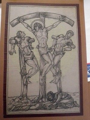 1920 Heinrich Arad Schmidt Church Crucifixion Stained Glass Drawing