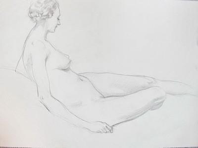 Listed Arthur Royce Bradbury Art Deco Reclining Nude Drawing No 4