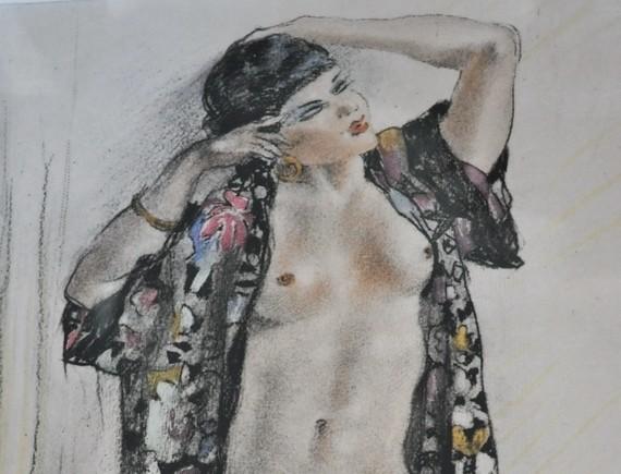 Original Art Deco Sgd Edouard Chimot Erotic Female Nude Lithograph