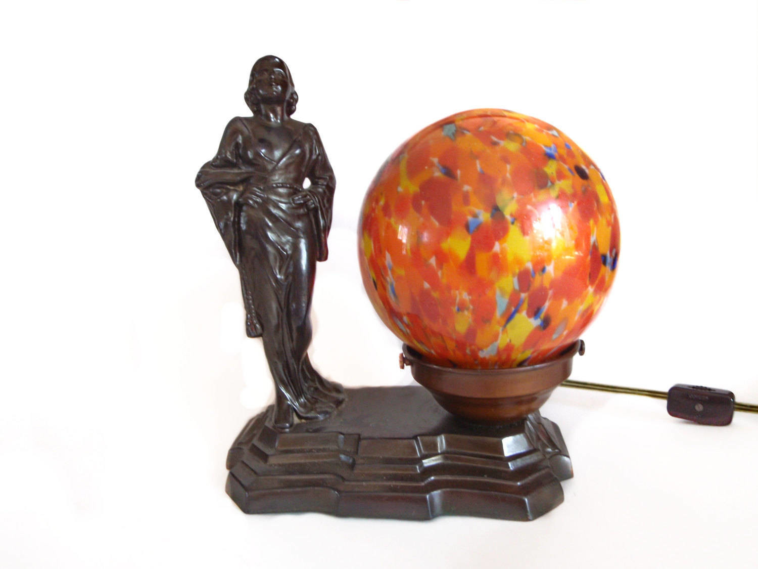 Art Deco Jean Harlow Table Lamp Czech Spatter Glass Dome Shade