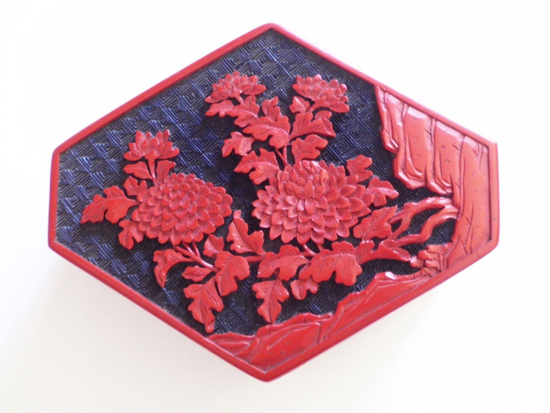 Cinnabar Jewelry Casket Trinket Box Red Black Lacquer Lotus Chrysanthemum
