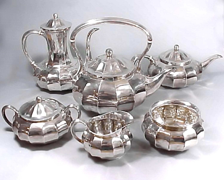 Rare Tiffany & Co 1907 6 pc Silver Tea Coffee Service Mellon Form