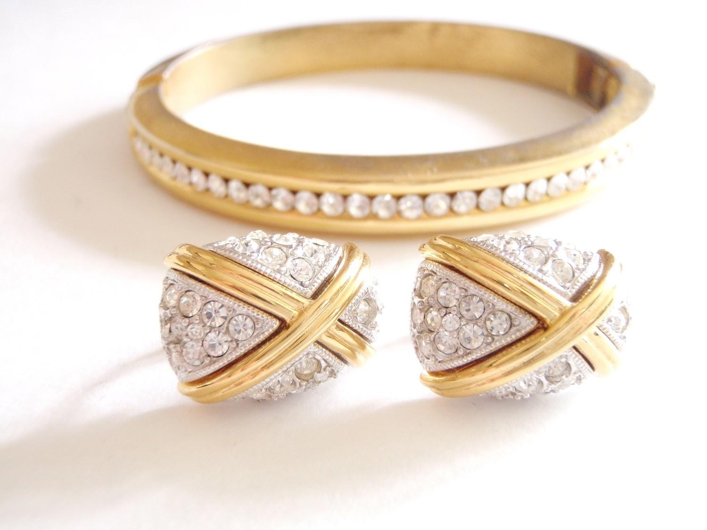 Vintage Joan Rivers Swarovski Crystal Bracelet Earrings Demi Parure Set