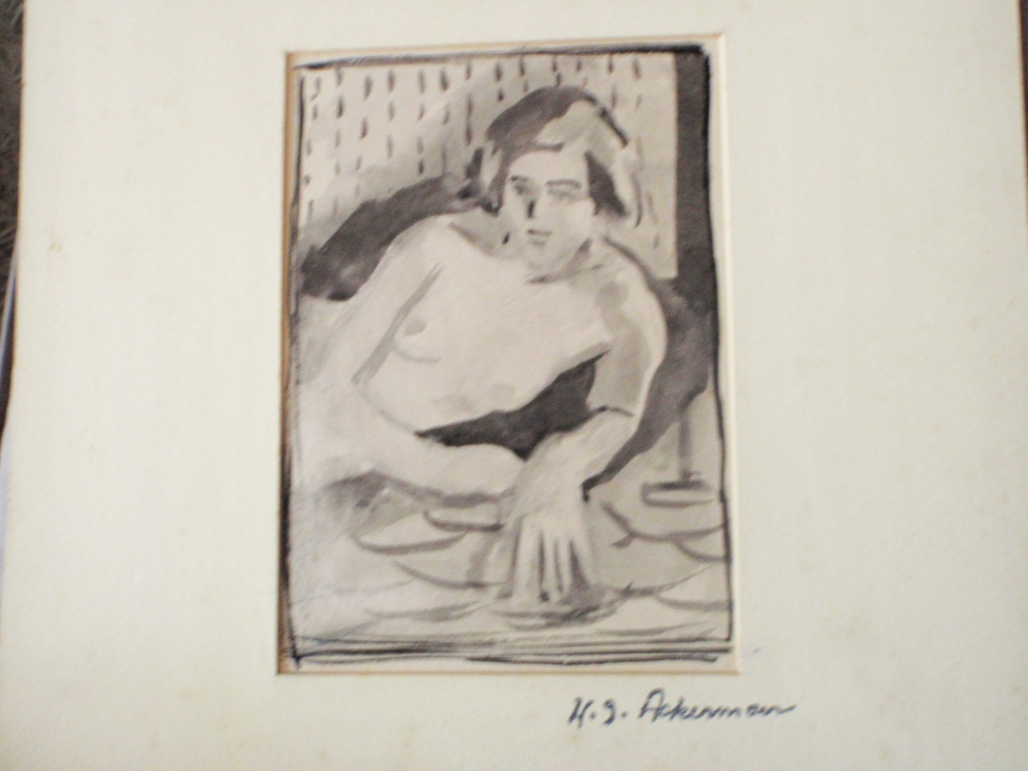 Listed Harry Gregory Ackerman Nude Ink Wash Painting 1932
