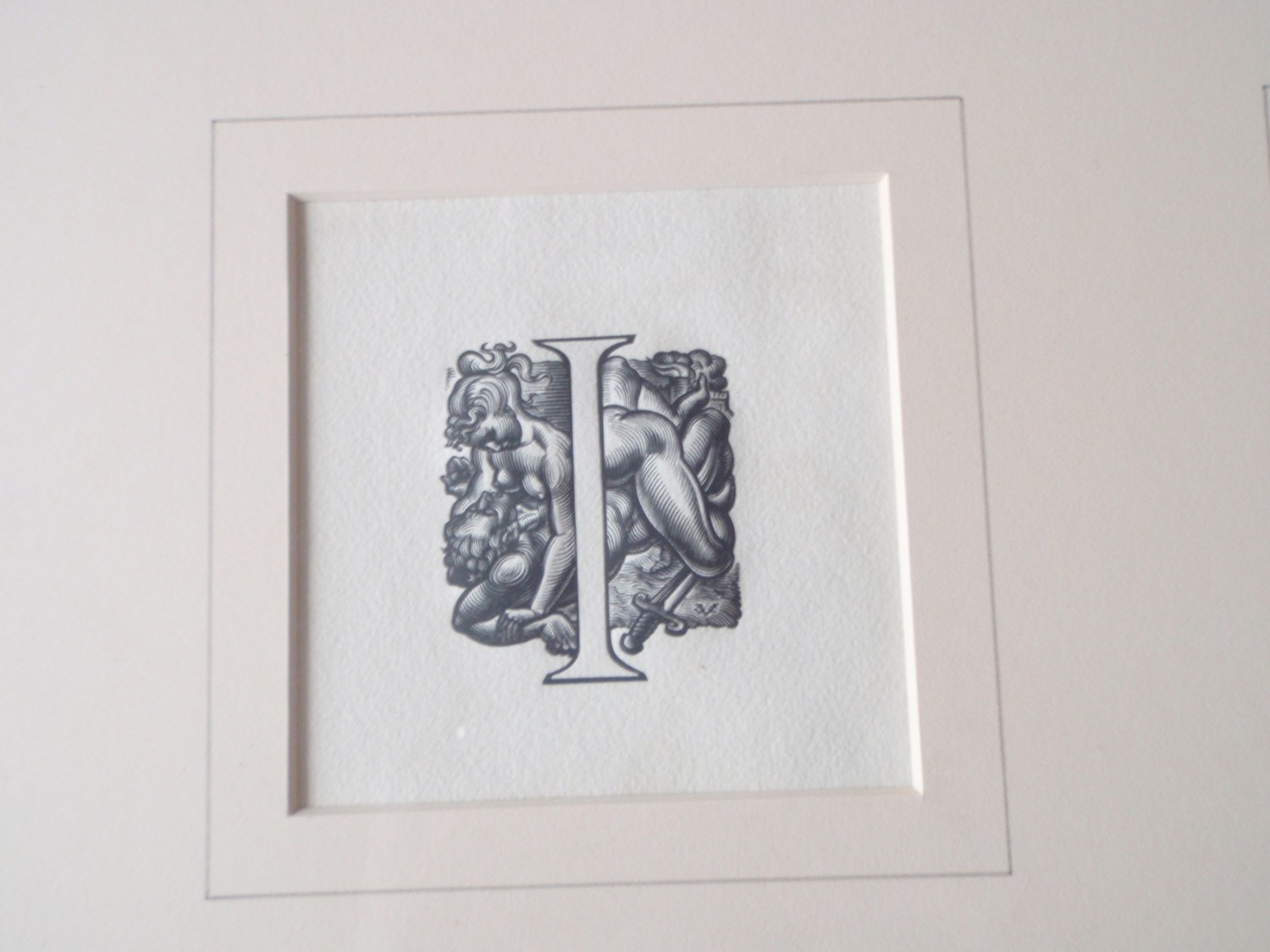 Art Deco 1935 Valentine Le Campion Erotic Engraving Drawing Letter I
