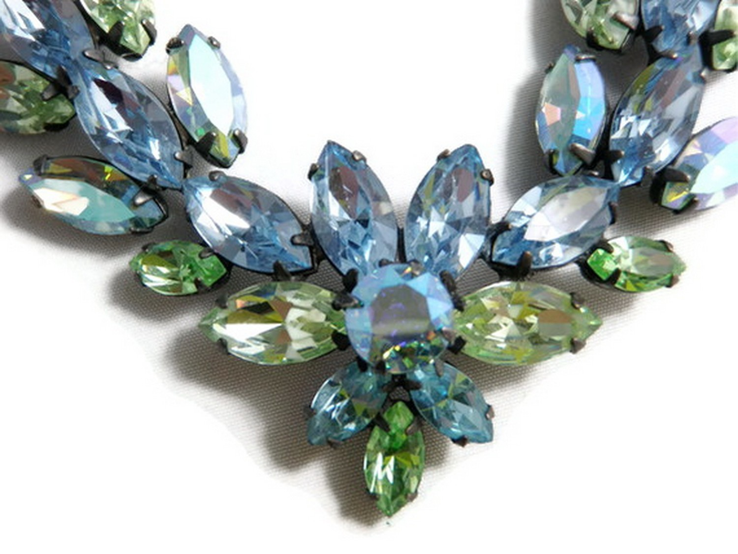 Regency Multi-Colored Blu Green Marquis Faceted Rhinestone Necklace