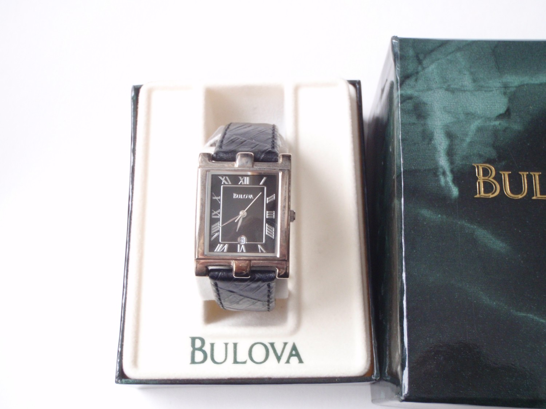 1970's Automatic Bulova Black Dial Fancy Lugs Original Box