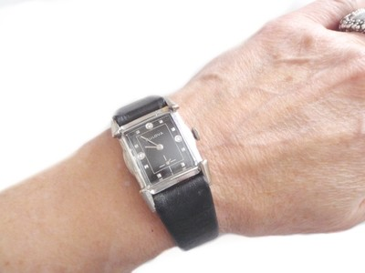 1953 Bulova Watch Diamonds, Black Dial and Sculpted Case