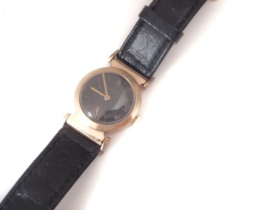Art Deco 1930's Bulova  Watch Hinged Lugs Black Enamel Dial and Applied Numbers