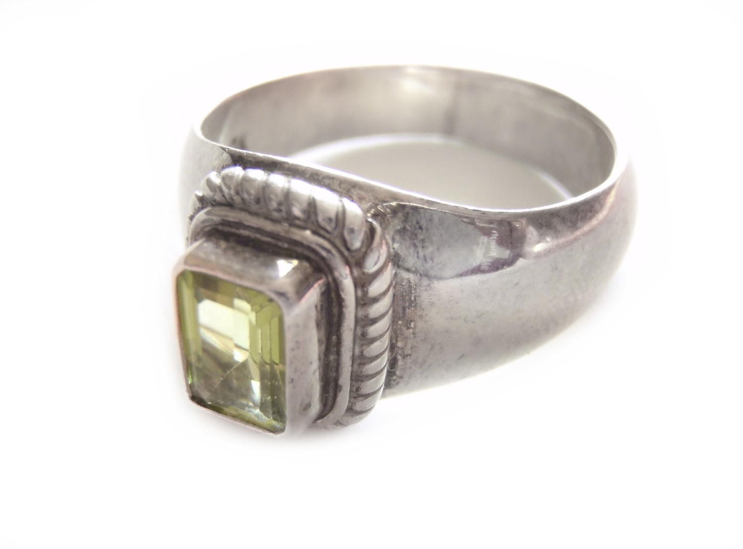 Vintage Peridot Silver Statement Ring August Birthstone