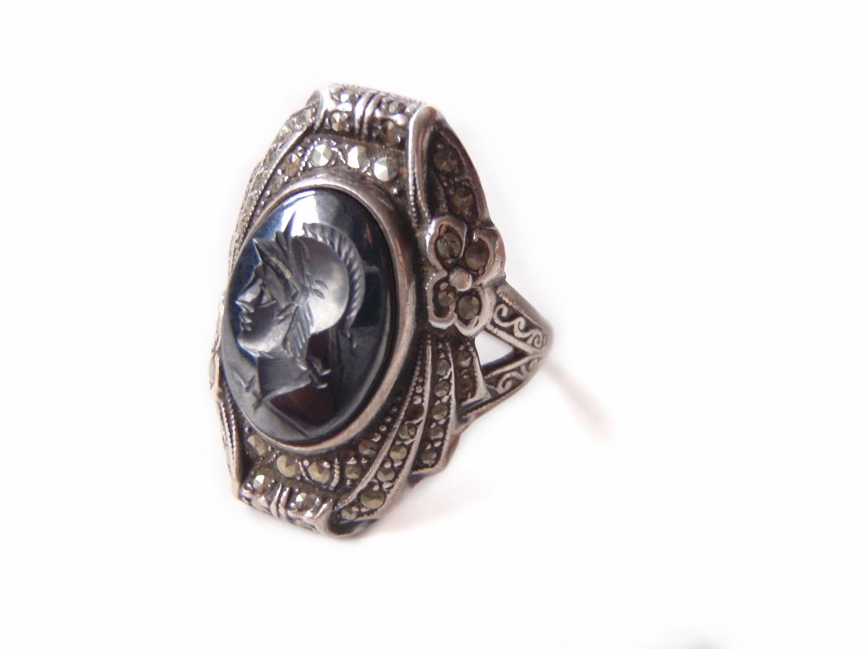Art Deco Hematite Intaglio Cameo Silver Marcasite Signet Ladies Ring