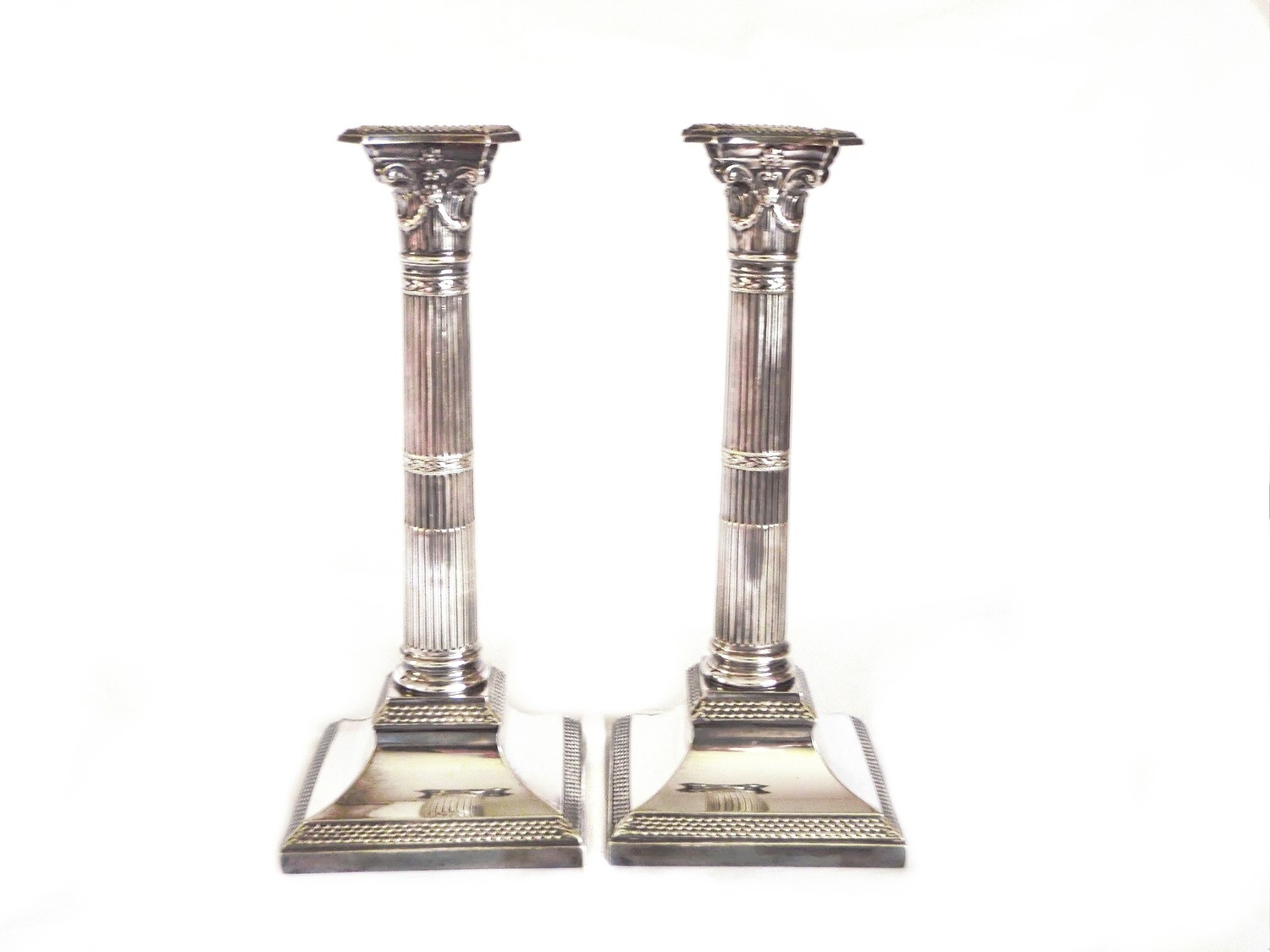 Antique English Victorian Silver Candle Holders 1870 William Hutton Son