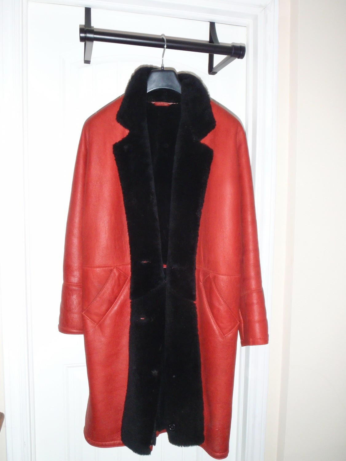 1980's Burberry's Coat, Red Leather and Black Shearling Lamb Fur, Vintage Burberry Jacket
