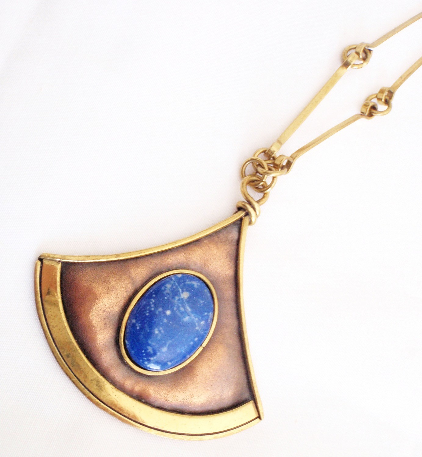 Arts and Crafts Lapis Lazuli Coppe Brass Necklace