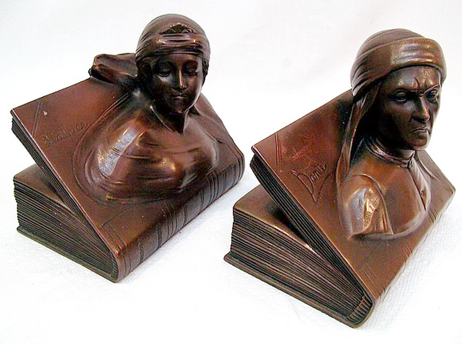 1926 Dante and Beatrice Art Deco Bookends by Jennings Bros