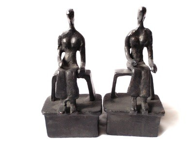 Modernist Mid Century Bookends After Henry Moore Two Nude Females