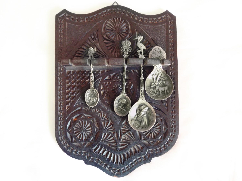 Antique European Frisian Carved Spoon Display w/ 4 Souvenir Spoons