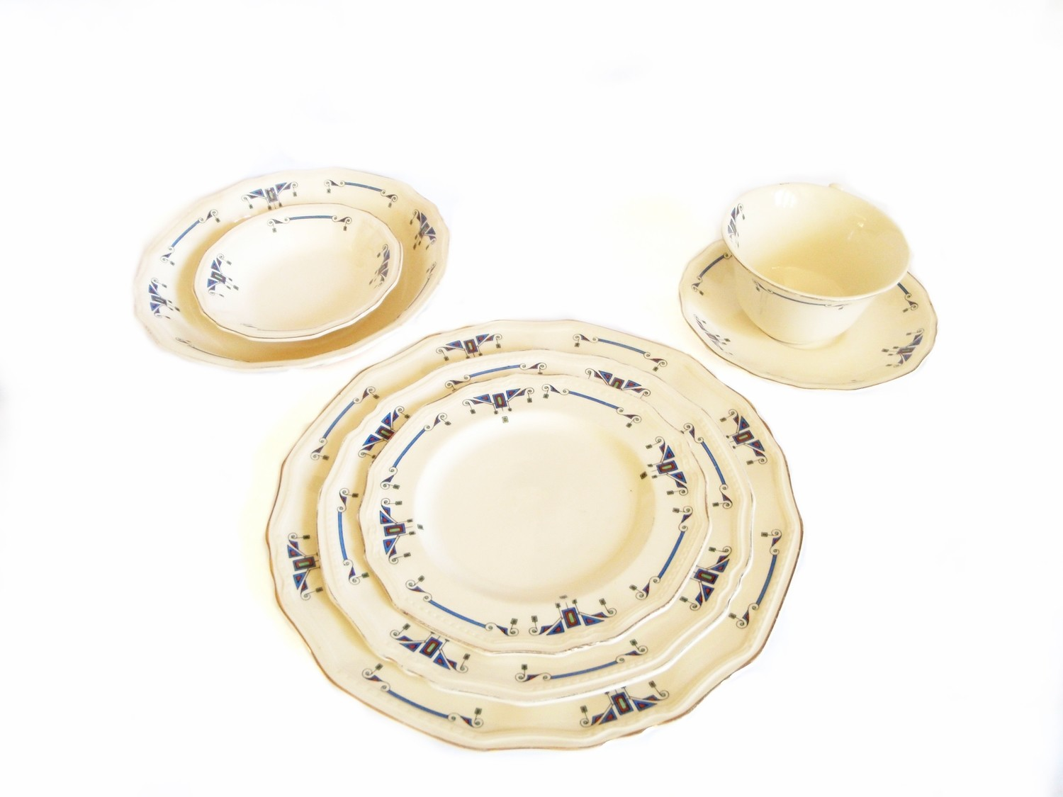 Art Deco Alfred Meakin Orient Marigold Astoria 7 pc Place Setting