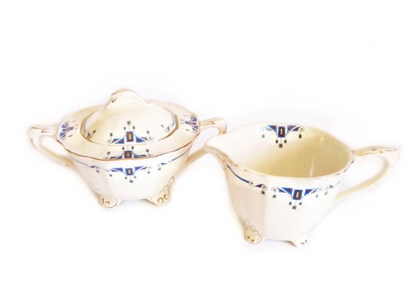 Art Deco Alfred Meakin Orient Marigold Astoria Cream and Sugar
