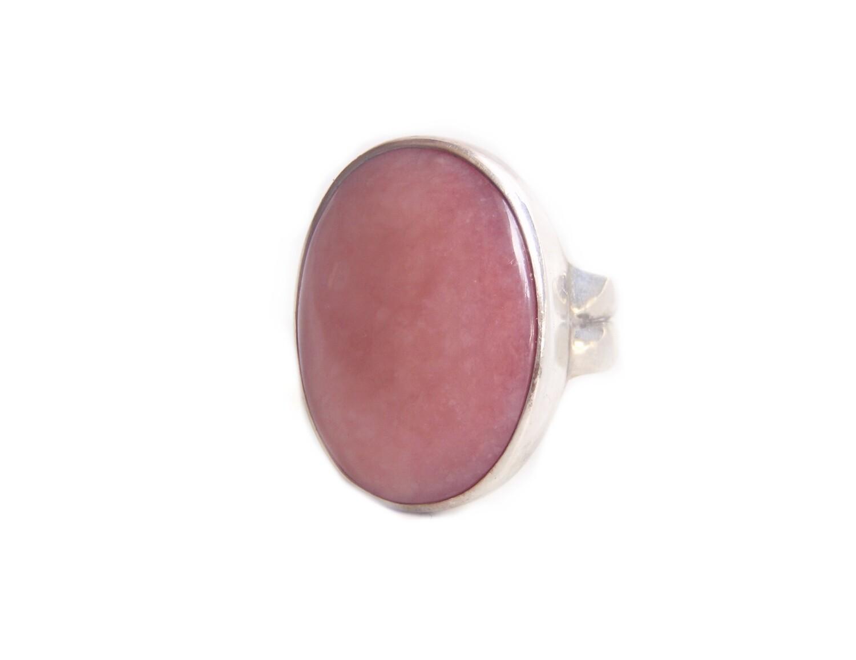Vintage Sajen Rose Quartz Cabochon Sterling Silver Ring
