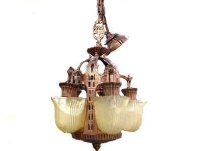 Art Deco 5 Slip Shade Chandelier 1920s Ceiling Lighting