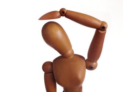 Mid Century Teak Jointed Female Manikin - Grumbacher Articulated Mannequin
