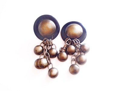 1980s Boho Dangle Drop Earrings Diva Statement