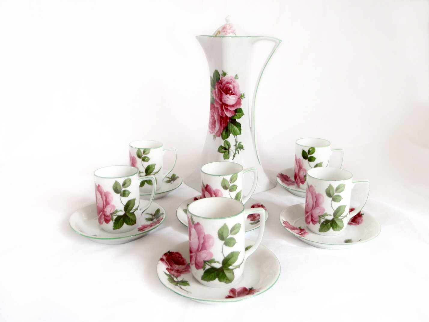 Antique Austrian Porcelain Chocolate Pot with 6 Cups and Saucers
