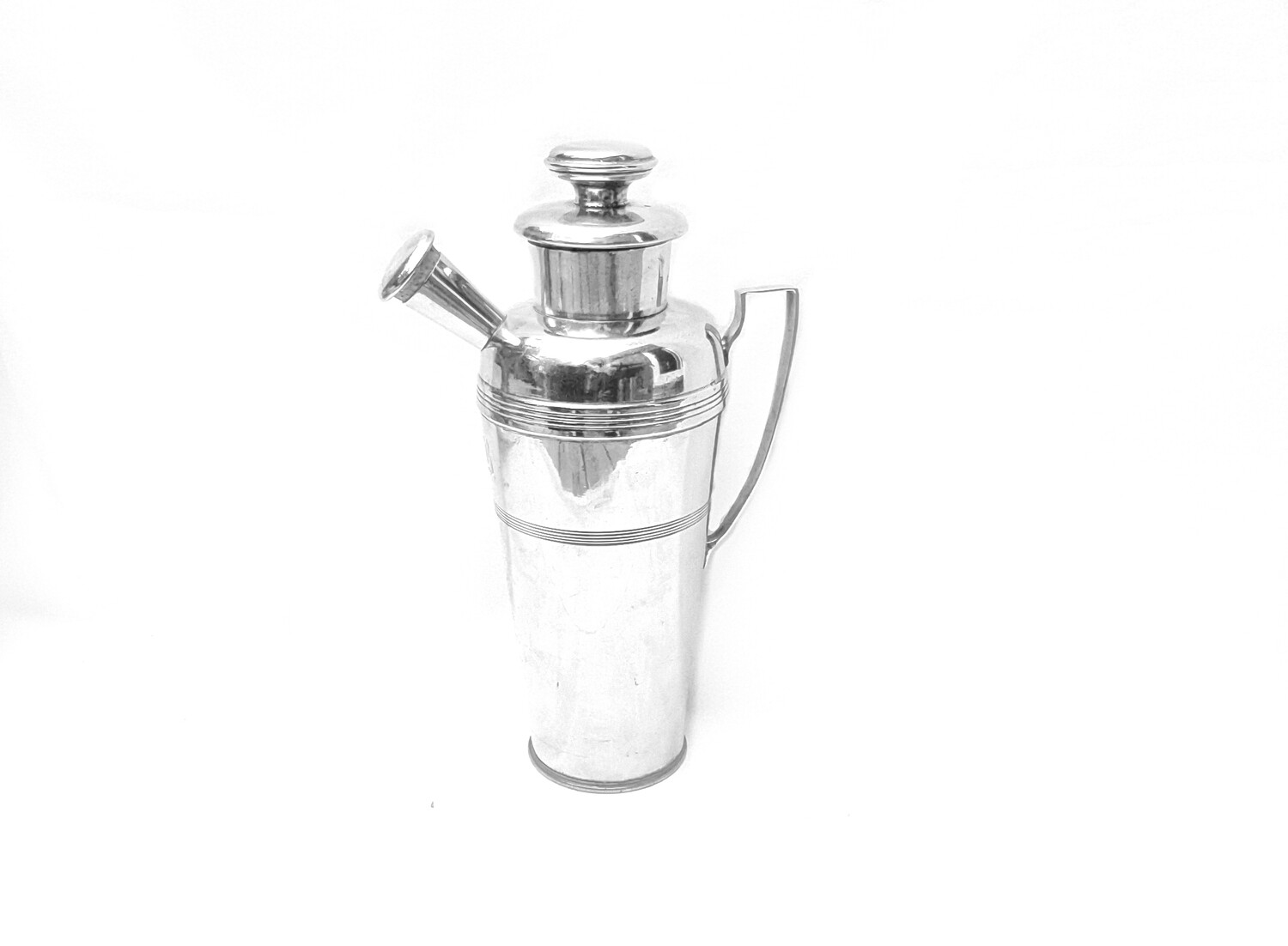 RARE Art Deco Igene Patented Cocktail Shaker 1920s Silver Shaker