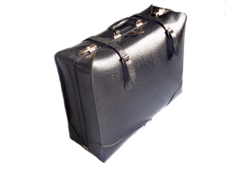 1930's McBrine Black Saddle Leather Luggage Suitcase Travel Bag