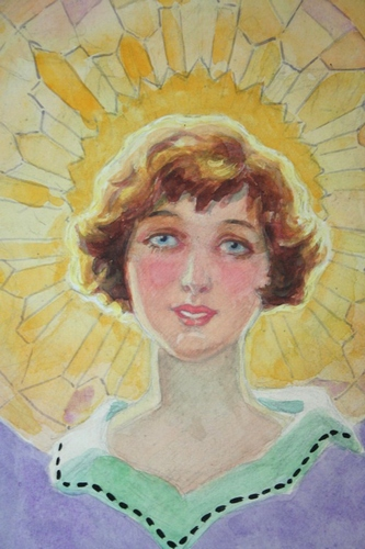 Art deco Pears Soap Advertising Illustration 'Golden Glory' Flapper in Pastel and Watercolour