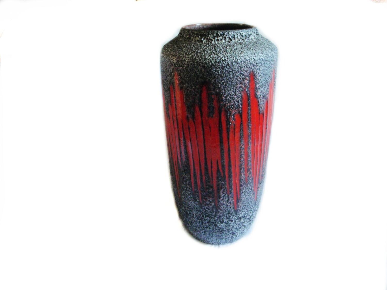 HUGE Mid Century Red Lava Floor Vase W. Germany
