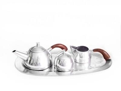 1930s Mexican Silver 5 Pc Tea Set Wood Handles Art Deco