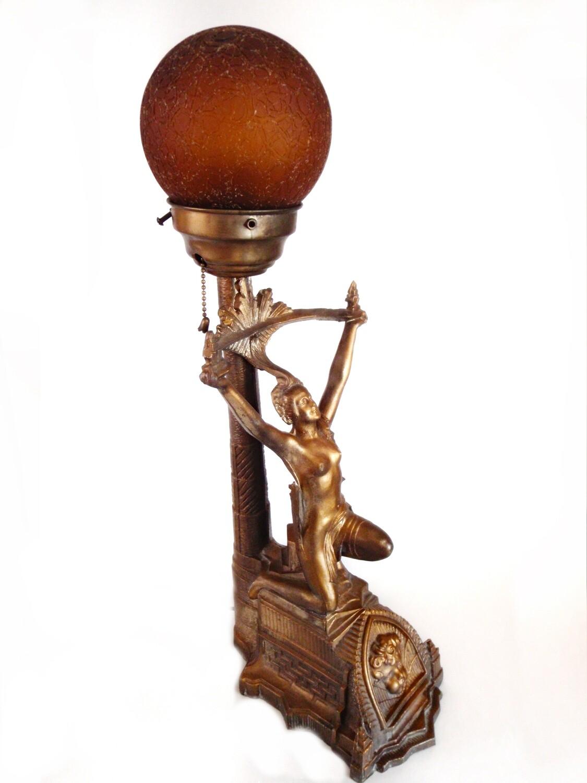 Art Deco Lamp Naked Goddess Lighting 1920s Accent Light