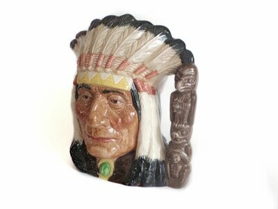 1966 Royal Doulton Native American Indian Chief Toby Jug with Totem Handle D6611