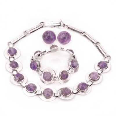 3 Pc Taxco Amethyst Silver Necklace Bracelet Earrings Parure