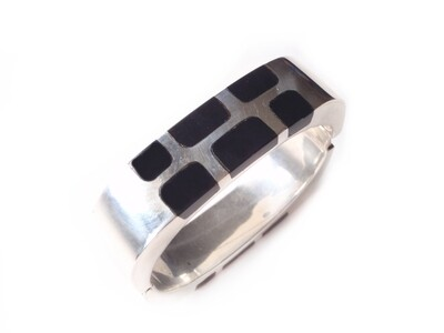 Vintage Taxco Onyx Hinged Silver Cuff Square Bracelet
