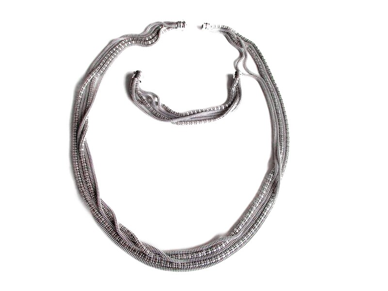 Vintage Italian Multi Strand Sterling Necklace Bracelet Set