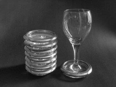 8 Italian Sterling Silver and Cut Crystal Coasters by Leonard for Fine Dining