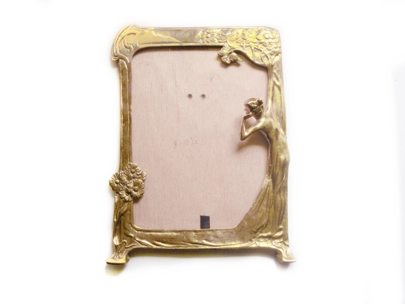 Bronze Art Nouveau LARGE Lady Easel Frame for Picture or Mirror