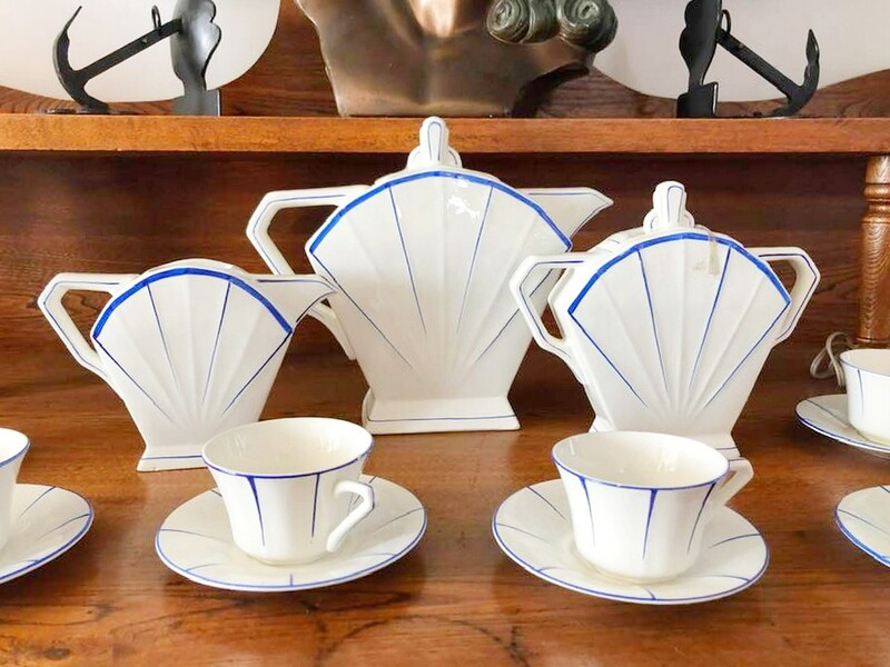 27pc Art Deco French Ceramic Coffee Set Service for 12