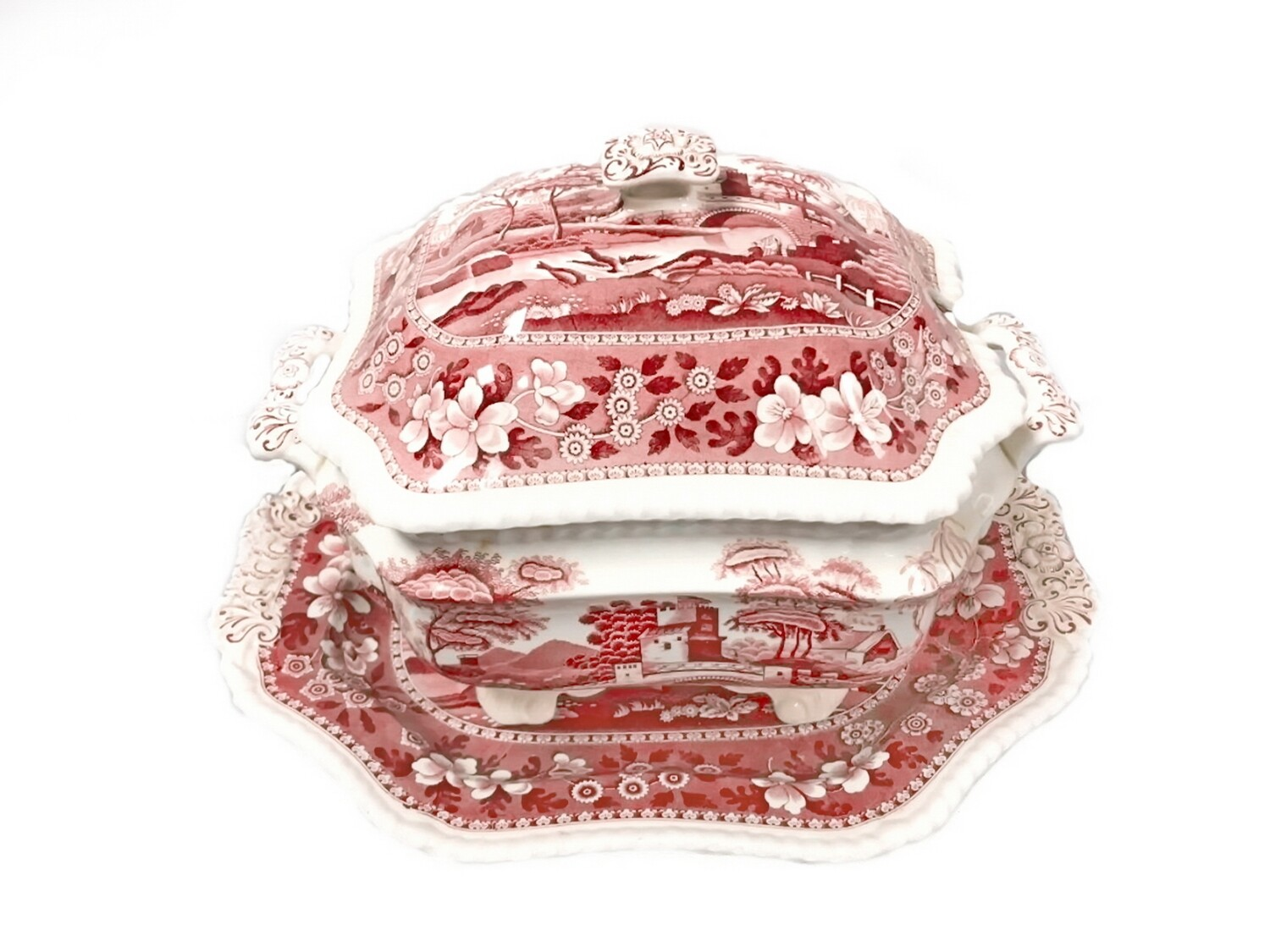3pc Spode Pink Tower Sauce Boat Gravy w Underplate Pink Red Transferware Server