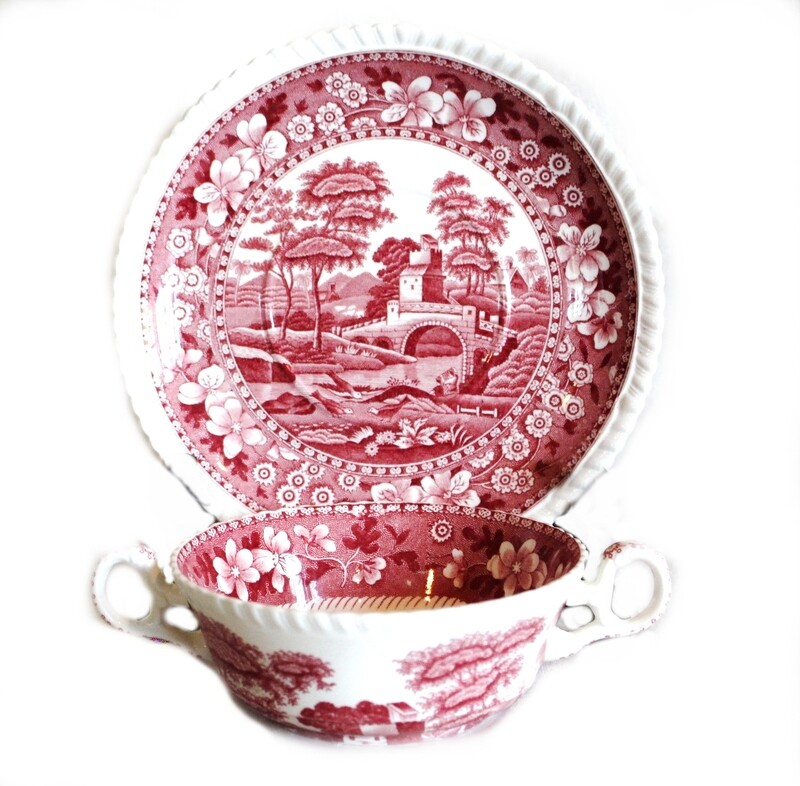 6 Spode Pink Tower Double Handle Soup Cup w/ Under Plate