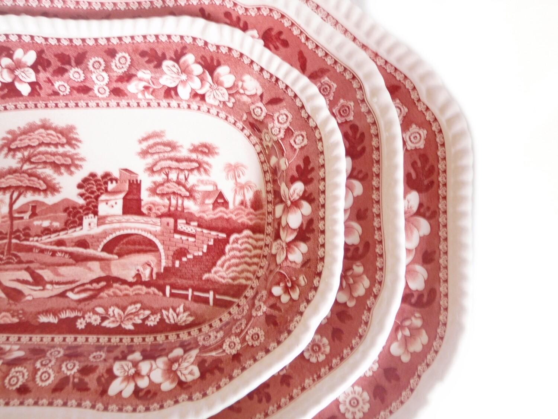 1 Vintage Copeland Spode Pink Tower 17 Inch Platter Serving Tray