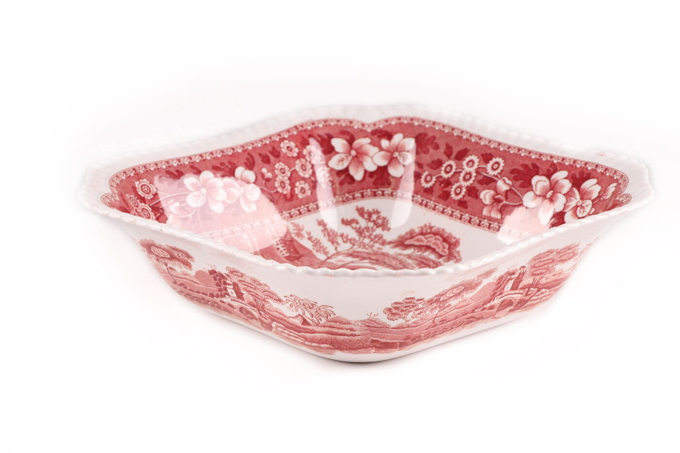 Spode Pink Tower Square Rimmed Veggie Food Serving Dish