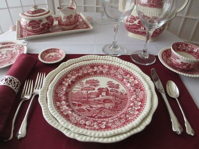6  Spode Pink Tower Butter Pats British Transferware for Fine Dining